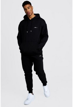 Mens Black MAN Loose Fit Hooded Tracksuit