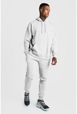 Mens Grey MAN Loose Fit Hooded Tracksuit With Skinny Joggers