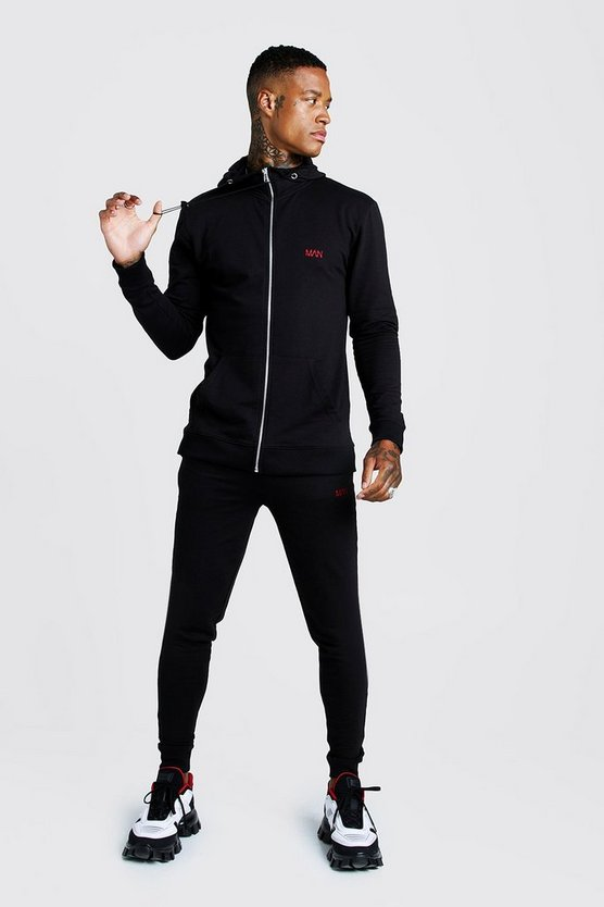 Mens Black Man Muscle Fit Zip Thru Bungee Cord Tracksuit