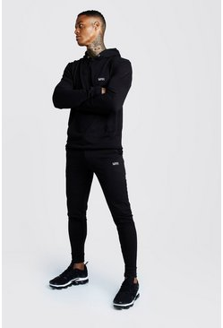 Mens Black Man Muscle Fit Hooded Bungee Cords Tracksuit
