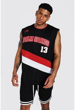 Oversized Palm Springs Varsity Mesh Tank, Black