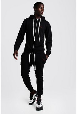 Mens Black MAN Skinny Fit Tracksuit With Long Drawcords