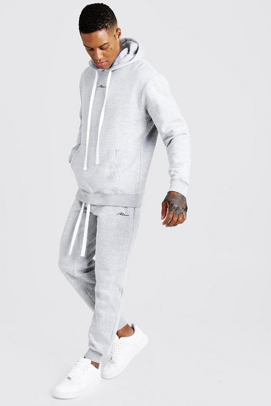Mens Grey MAN Hooded Regular Fit Tracksuit with Long Drawcords