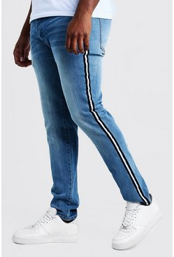 Mens Washed blue Big & Tall Skinny Fit Jeans With Side Tape