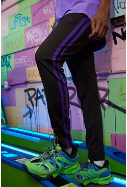 Mens Black Slim Fit MAN Signature Joggers With Purple Stripes