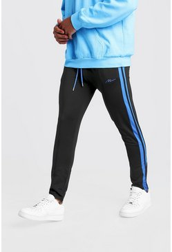 Mens Black Slim Fit MAN Signature Joggers With Blue Stripes