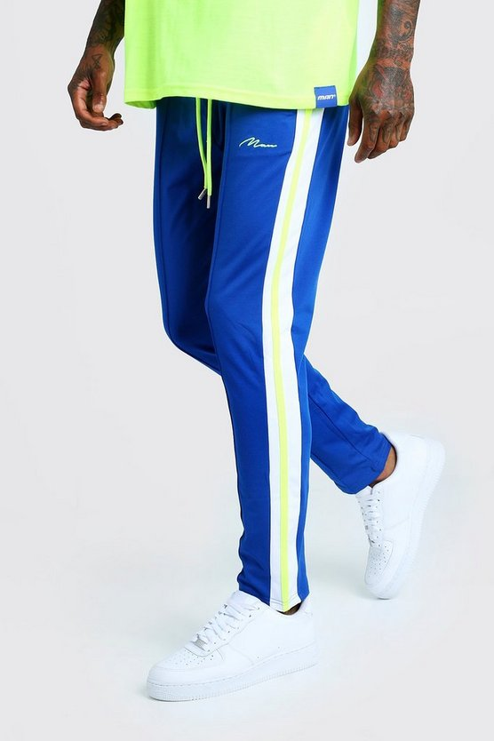 Mens Cobalt Slim Fit MAN Signature Joggers With Neon Stripes