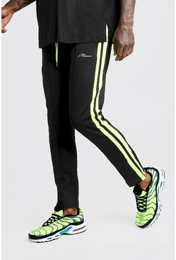 Mens Black Slim Fit MAN Signature Joggers With Neon Stripes