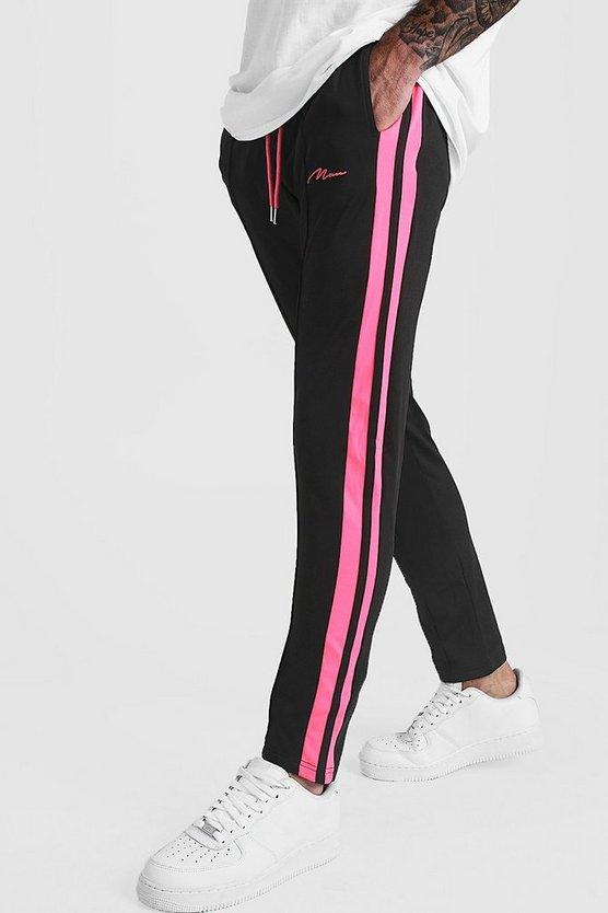 Mens Black Slim Fit MAN Signature Joggers With Neon Stripe