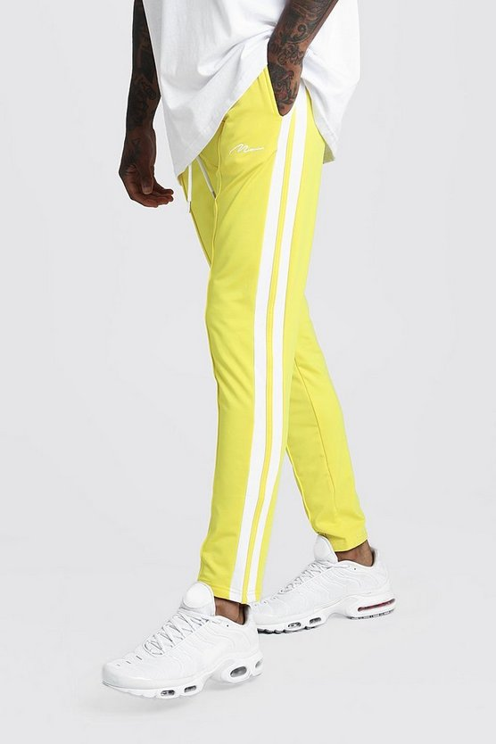 Mens Yellow Slim Fit MAN Signature Joggers With Side Stripes