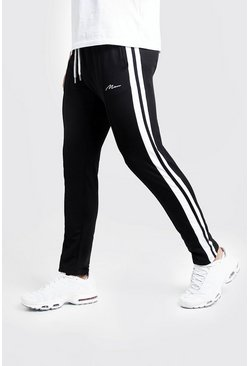 Mens Black Slim Fit MAN Signature Joggers With Side Stripes