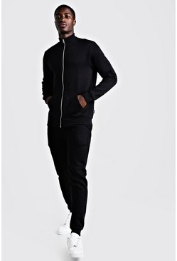 Mens Black Funnel Neck Skinny Fit Tracksuit