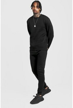 Mens Black Skinny Fit Sweater Tracksuit