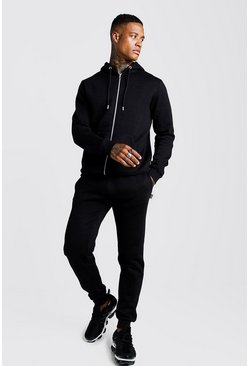 Black Zip Through Slim Fit Tracksuit