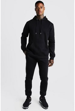 Mens Black Over The Head Hooded Slim Fit Tracksuit