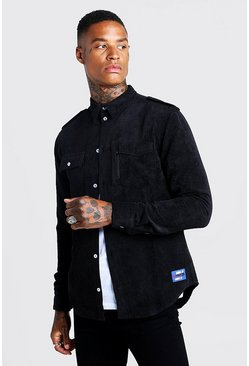 Mens Black MAN Corduroy Base Overshirt With Woven Badge