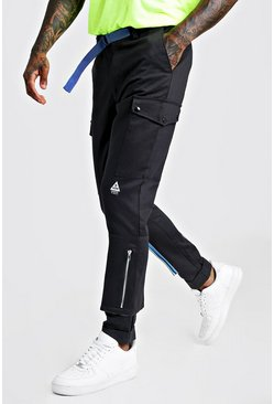 Mens Black Skinny Fit Cargo Trouser With Colour Pop Pocket