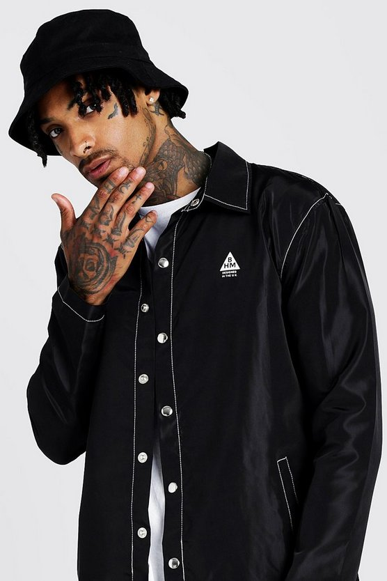 Mens Black MAN Coach Jacket With Contrast Topstitching