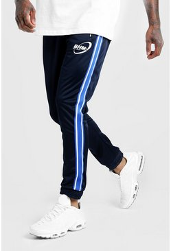 Mens Navy MAN Cuffed Joggers In Tricot With Side Panel