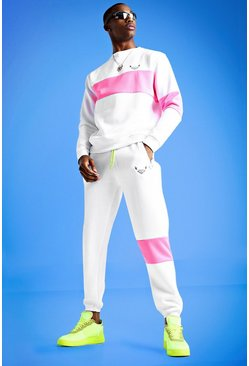 Mens White Mist Skinny Fit Sweater Tracksuit With Panels