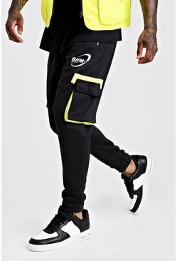 Mens Black MAN Jersey Cargo Joggers With Bunji Cord Waist