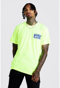 Mens Neon-yellow MAN Loose Fit T-Shirt With Print