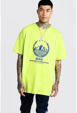 Mens Neon-yellow MAN Oversized T-Shirt With Print & Tab