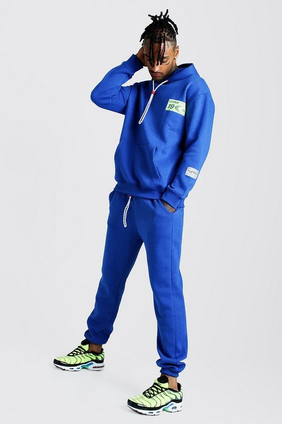 Mens Cobalt MAN Loose Fit Hoodie & Skinny Fit Jogger