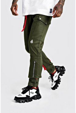 Mens Khaki Skinny Fit Cargo Trouser With Colour Pop Pocket