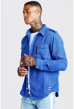 Mens Cobalt MAN Corduroy Base Overshirt With Woven Badge