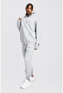 Mens Grey MAN Loose Fit Hoodie & Regular Fit Jogger Tracksuit