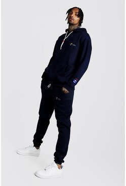 Mens Navy MAN Loose Fit Hoodie & Regular Fit Jogger Tracksuit