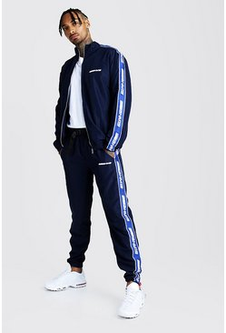 Mens Navy MAN Shell Track Top And Jogger Set