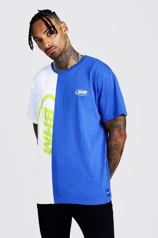Mens Cobalt MAN Loose Fit Spliced Tee With Print & Woven Tab