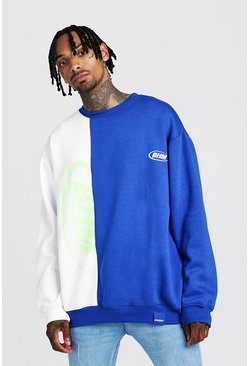 Mens Cobalt Man Oversized Spliced Sweater With Print