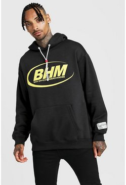 Mens Black MAN Loose Fit Front & Back Print Woven Badge Hoodie