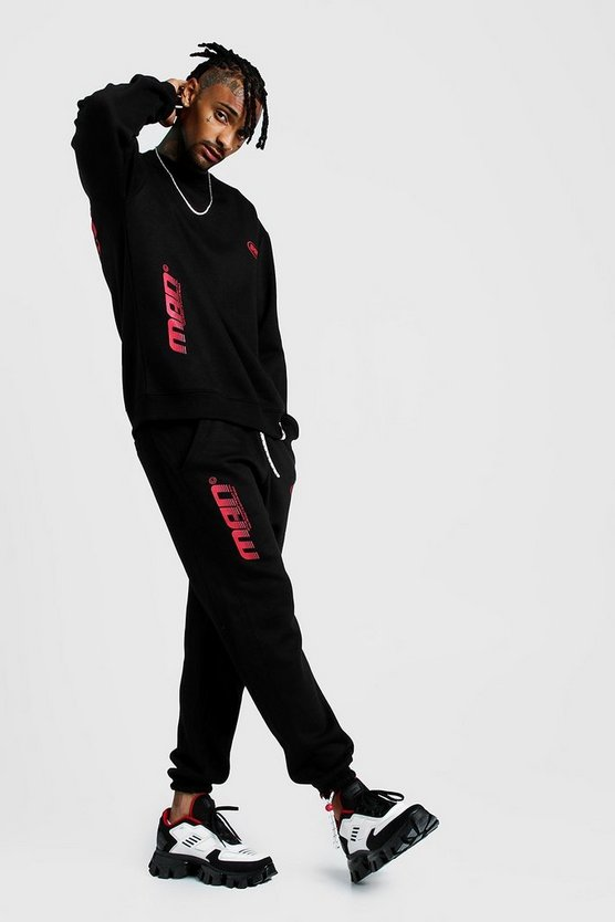 Mens Black MAN Oversized Sweatshirt & Joggers