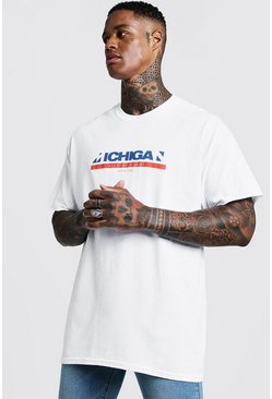 Mens White Oversized Michigan Front Print T-Shirt
