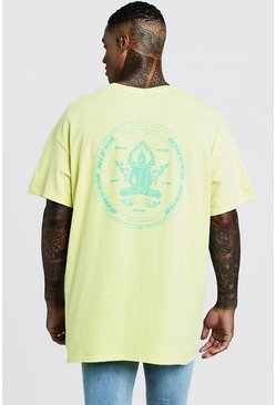 Front & Back Print Brain Washer T-Shirt, Yellow, HOMMES