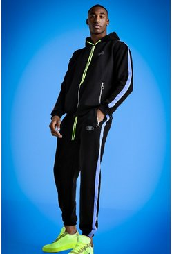 Mens Black Mist Zip Through Hooded Tracksuit