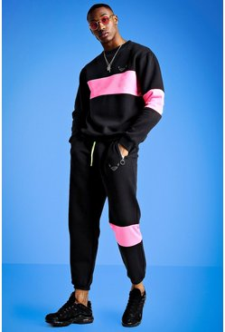 Mens Black Mist Sweater Tracksuit With Panels
