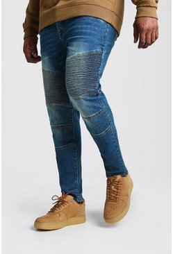 Mid blue Big & Tall Skinny Fit Worn Biker Jeans