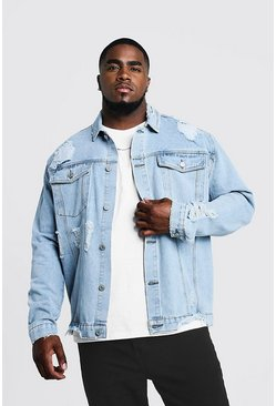 Mens Light blue Big & Tall Denim Jacket Heavy Distressing