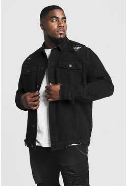 Mens Black Big & Tall Denim Jacket With Heavy Distressing