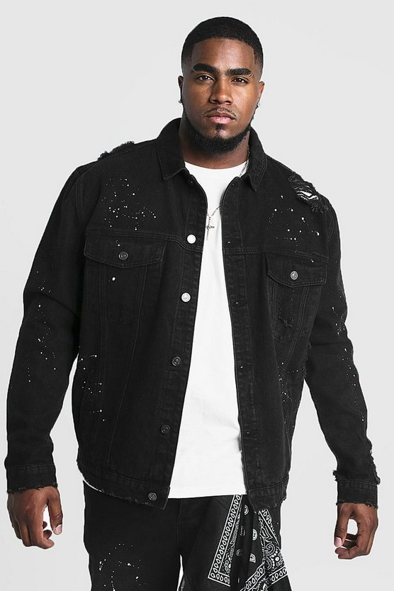 Mens Black Big & Tall Denim Jacket With Bandana Repair