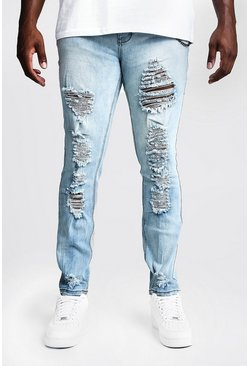 Mens Light blue Big & Tall Skinny Fit Jeans With Distressing