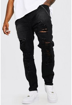 Big  & Tall Skinny Fit Jeans im Destroyed-Look, Schwarz