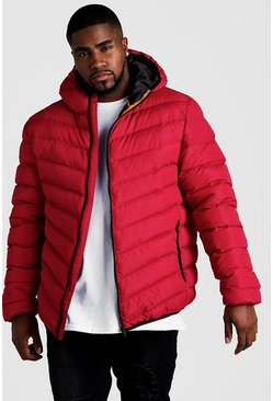 Mens Red Big & Tall Quilted Zip Jacket With Hood