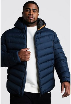 Mens Navy Big & Tall Quilted Zip Jacket With Hood