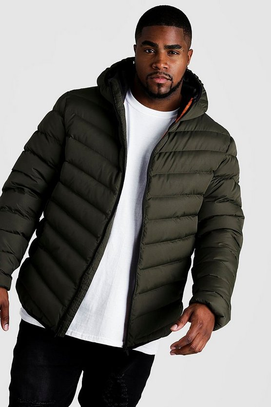 Mens Khaki Big & Tall Quilted Zip Jacket With Hood